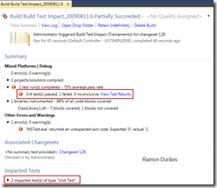 Build Test Impact Visual Studio Team System 2010
